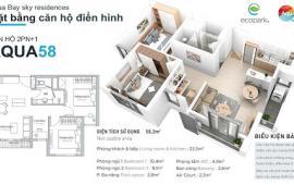 Cho thuê căn hộ ecopark 2 phòng ngủ diện tích 58m2 đủ đồ giá 7.5 triệu